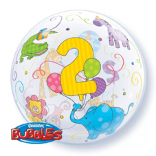 Age 2 Jungle Animals Bubble Balloon